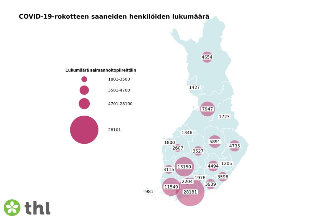 Kartta: COVID-19-rokotteen saaneiden henkilöiden lukumäärä sairaanhoitopiireittäin
